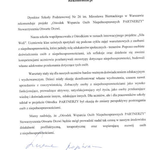Rekomendacja – Szkoła Podstawowa nr 26 im. Bronisława Biernackiego w Warszawie