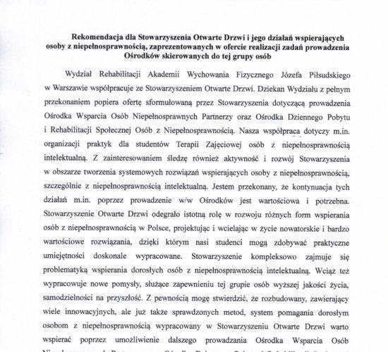 Rekomendacja – Akademia Wychowania Fizycznego Wydział Rehabilitacji