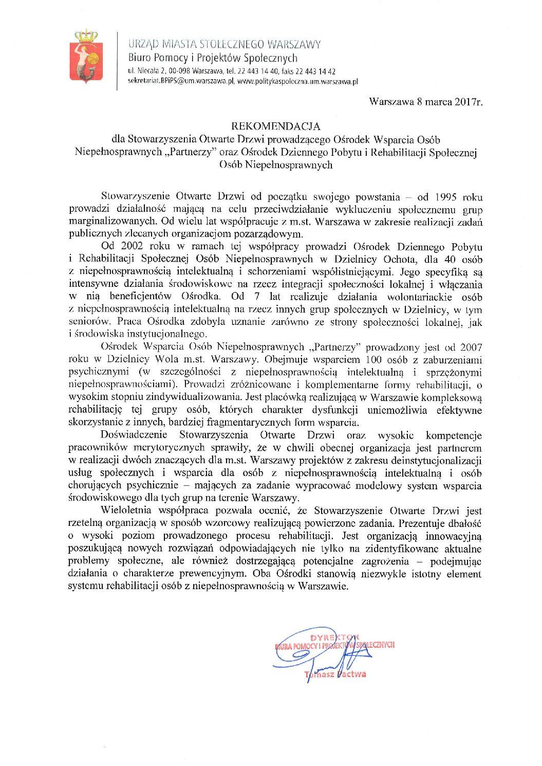 Rekomendacja – Biuro Pomocy i Projektów Społecznych