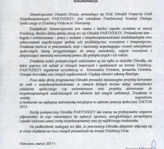 Rekomendacja – Dzielnicowa Komisja Dialogu Społecznego w Dzielnicy Wola