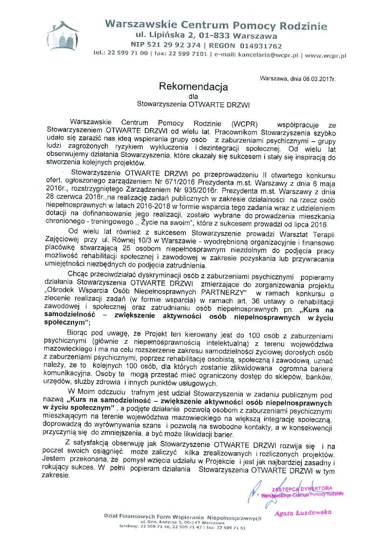 Rekomendacje – Warszawskie Centrum Pomocy Rodzinie