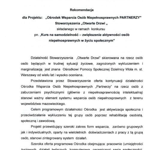 Rekomendacja Ośrodka Pomocy Społecznej Warszawa Wola