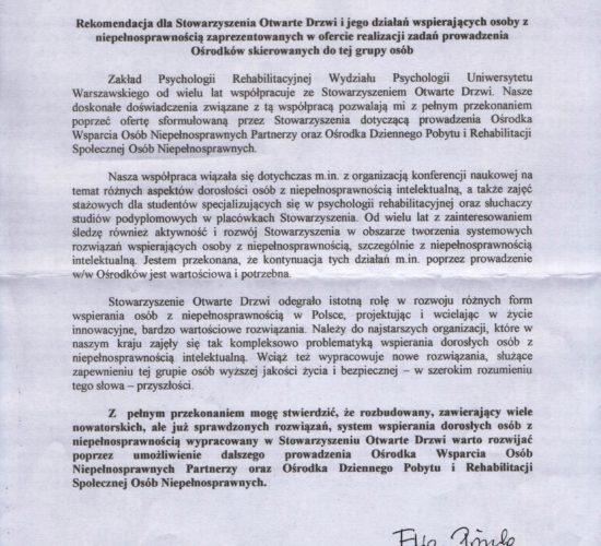 Rekomendacje Uniwersytet Warszawski