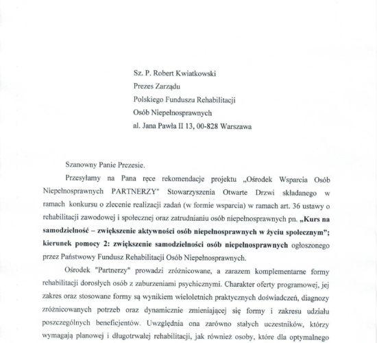Rekomendacja – Polska Unia Zatrudnienia Wspomaganego