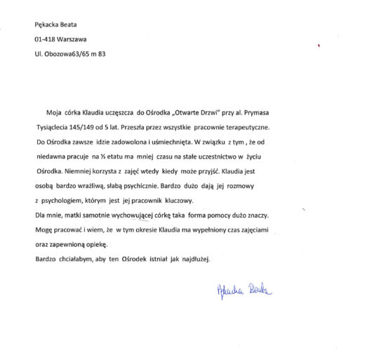 Rekomendacja – Pani Beata Pękacka
