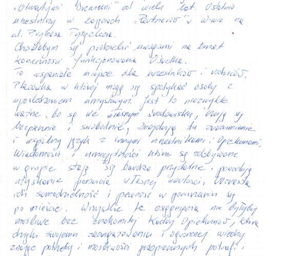 Rekomendacja – Pani Irena Smoder