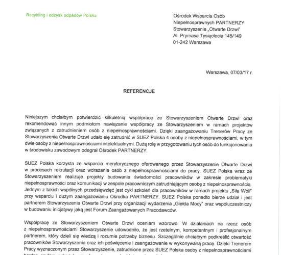 Rekomendacje SUEZ Polska