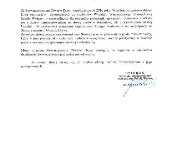 Rekomendacja – Staropolska Szkoła Wyższa Wydział Warszawski
