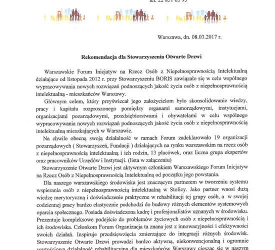 Rekomendacja Warszawskie Forum Inicjatyw na Rzecz Osób z Niepełnosprawnością Intelektualną